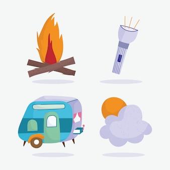 Camping lanterna trailer e sol férias atividade aventura design
