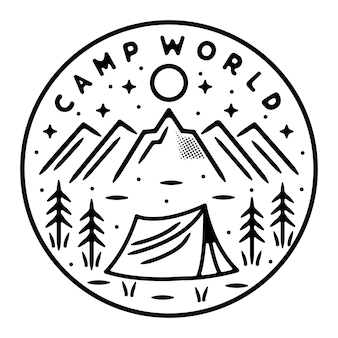 Camping na montanha design de crachá monoline ao ar livre