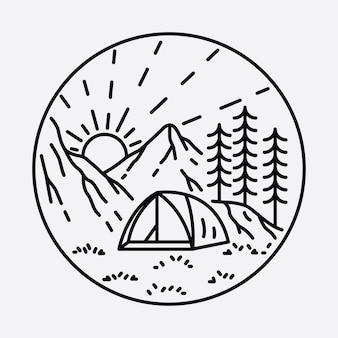 Camping natureza aventura linha selvagem distintivo patch pin ilustração gráfica arte design de t-shirt