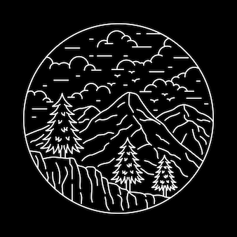 Camping natureza aventura linha selvagem emblema patch pin ilustração gráfica