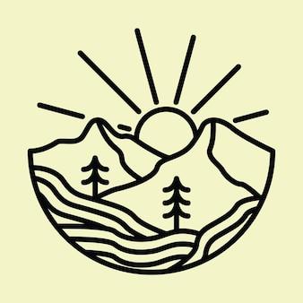 Camping natureza aventura montanha selvagem linha distintivo patch pin ilustração gráfica design de t-shirt