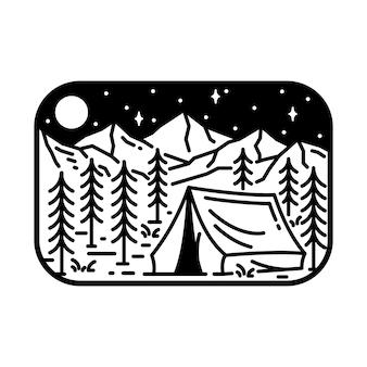 Camping natureza aventura selvagem linha distintivo remendo pin gráfico ilustração