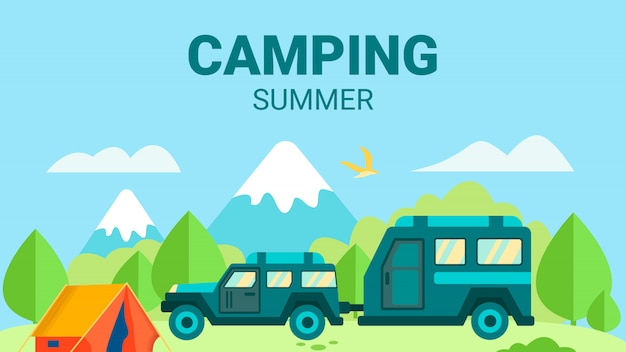 Camping no cartão de design plano de publicidade de verão