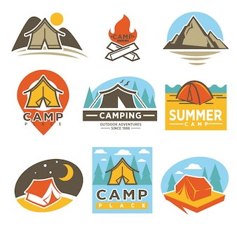 Camping outdoor adventures logotypes emblems set