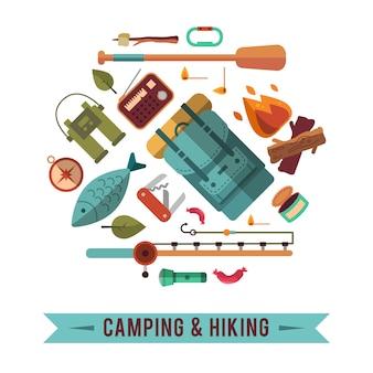 Camping plano conjunto com equipamento para caminhadas e ícones de cozinha ao ar livre