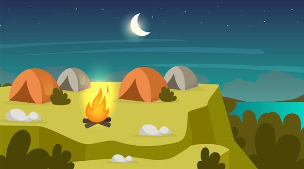 Camping sente-se ilustração plana
