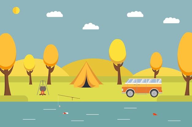 Camping van tenda recreação ao ar livre