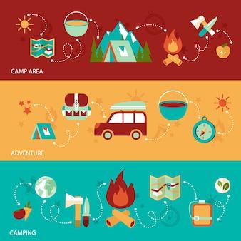Camping verão atividades ao ar livre banner plano conjunto com área de campo aventura ilustração vetorial isolado