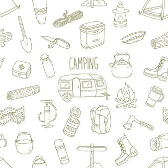 Camping vetor mão desenhada sem costura padrão