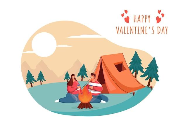 Camping view background com jovem casal desfrutando de bebidas na frente da fogueira para feliz dia dos namorados conceito de celebração.