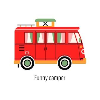 Campista colorido. carro de entretenimento. casa móvel para recreação fora da cidade e recreação ao ar livre.
