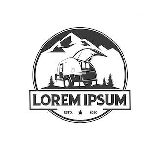 Campistas de aventura logotipo vintage premium