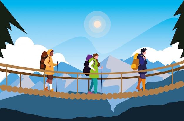 Campistas em cena bela paisagem com ponte pênsil