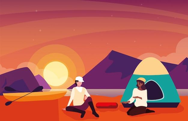 Campistas na zona de acampamento com cena do sol da barraca