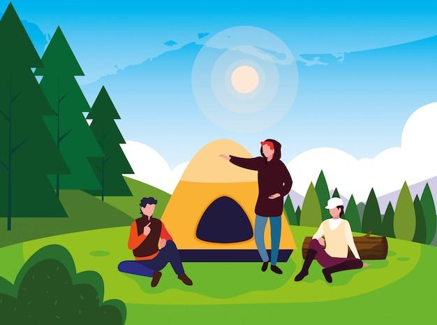Campistas na zona de campismo com paisagem de dia de barraca