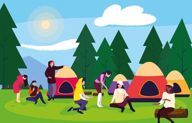 Campistas na zona de campismo com paisagem de dia de tendas