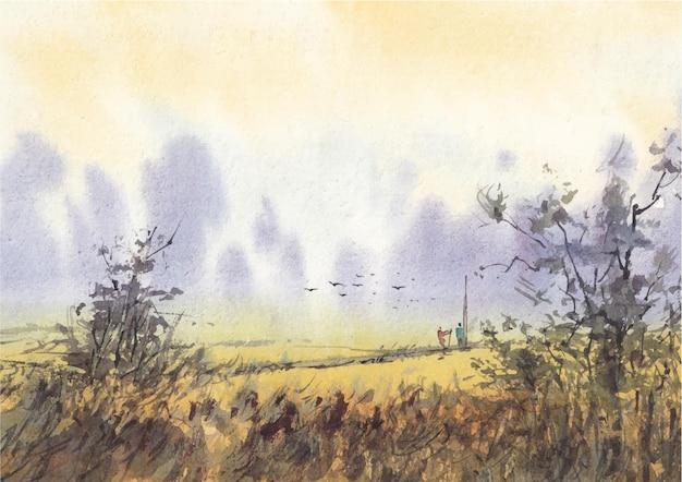 Campo amarelo na pintura em aquarela do lado da vila