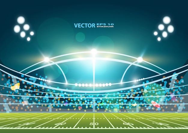 Campo da arena do futebol americano com projeto brilhante das luzes do estádio.