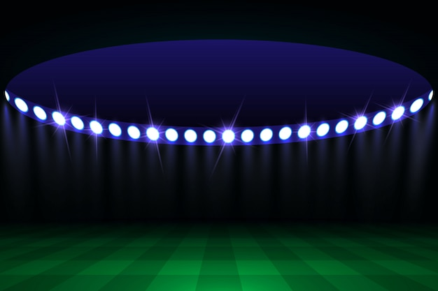 Campo de arena de futebol com luzes do estádio brilhante
