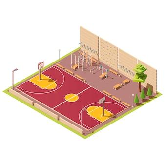 Campo de basquete e área de treino