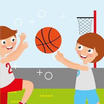 Campo de basquete esporte atividade crianças