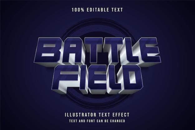 Campo de batalha, efeito de texto editável em 3d estilo de texto gradação de metal roxo