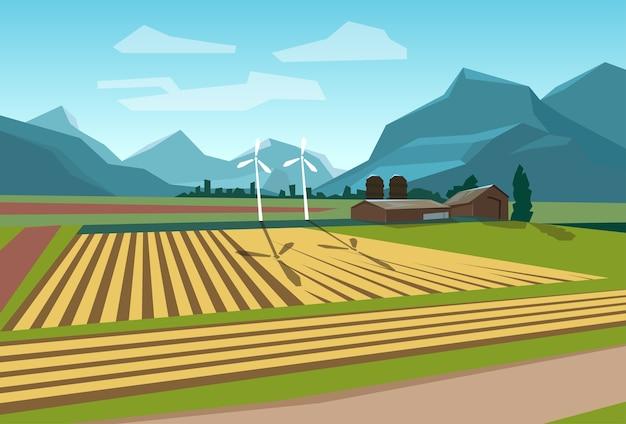 Campo de fazenda com energia alternativa de turbina de vento