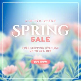 Campo de flores da primavera turva venda sazonal