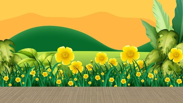 Campo de flores e grama verde com cenário de montanhas ao pôr do sol
