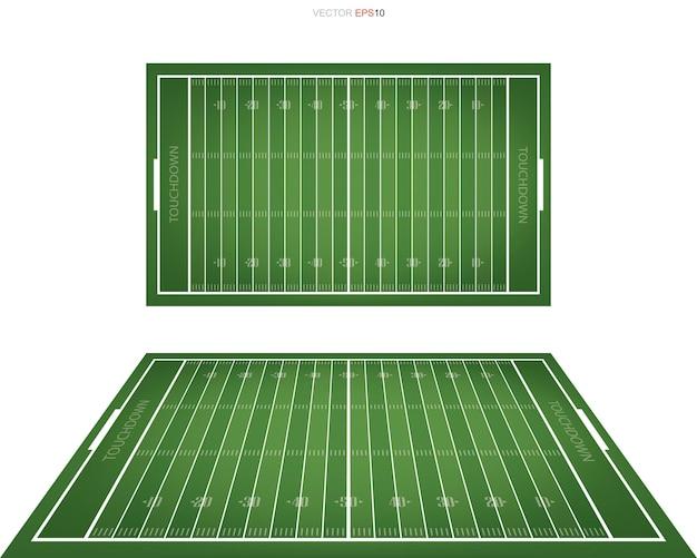 Campo de futebol americano com área de padrão de linha para segundo plano. vistas em perspectiva do campo de futebol. ilustração vetorial.