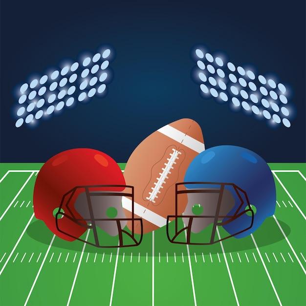 Campo de futebol americano com balão e capacetes
