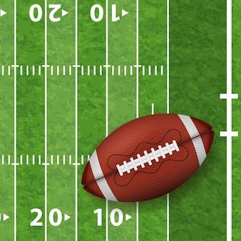 Campo de futebol americano com bola realista, linha e textura de grama. vista frontal da bola de rugby americano.