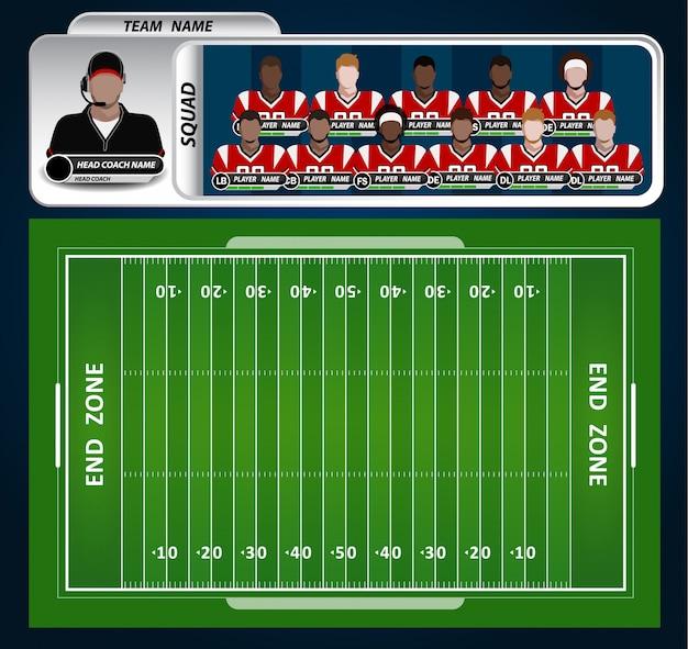 Campo de futebol americano com conjunto de elementos infográfico
