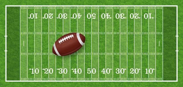 Campo de futebol americano com linha, bola realista e textura de grama, vista superior