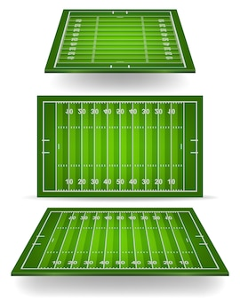Campo de futebol americano com perspectiva.