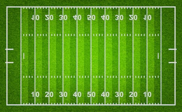 Campo de futebol americano com textura de grama.