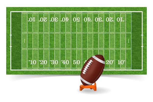 Campo de futebol americano com textura de linha, bola e grama realista.