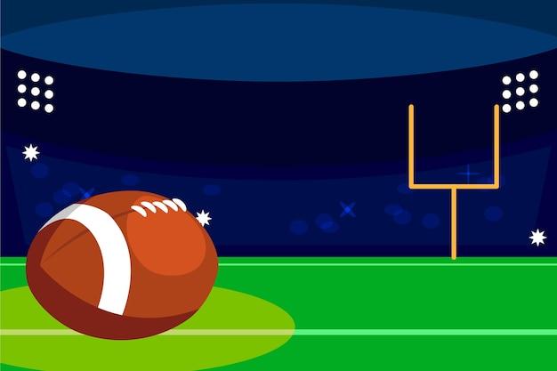 Campo de futebol americano e bola