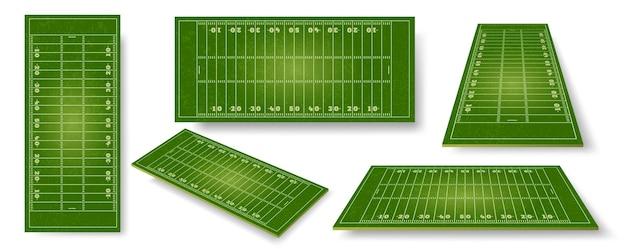 Campo de futebol americano. esporte de bola realista pitch sheme com marcações de zona. perspectiva do campo de grama do estádio, conjunto de vetores de vista lateral e superior. campo de jogo para ilustração realista de futebol americano