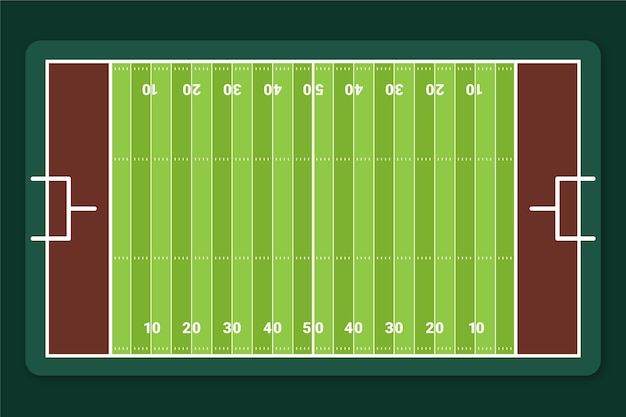Campo de futebol americano plano em vista superior