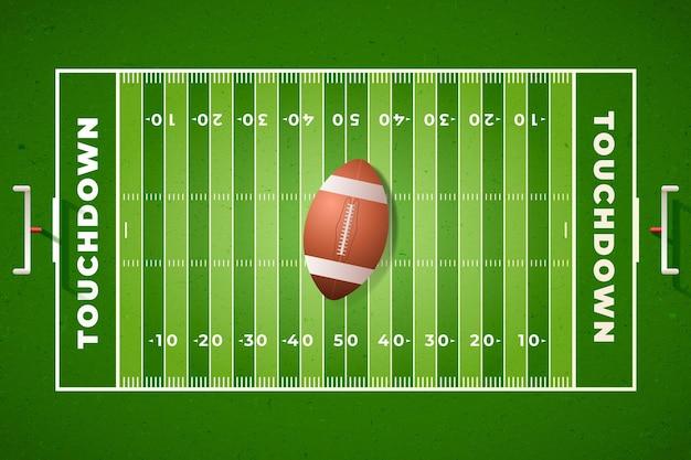 Campo de futebol americano realista em vista superior