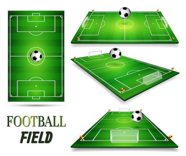 Campo de futebol, campo de futebol cravejado de bola de futebol.
