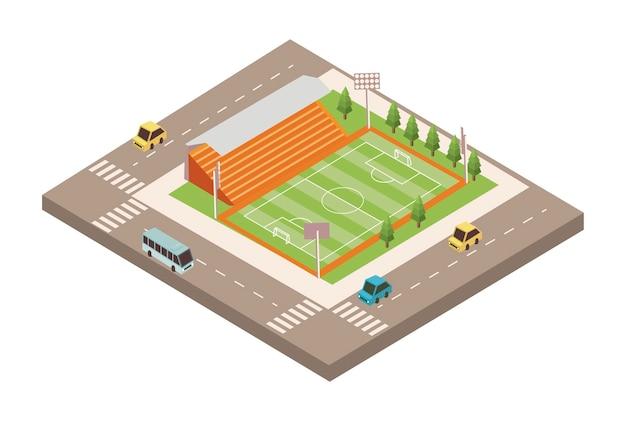 Campo de futebol com estrada