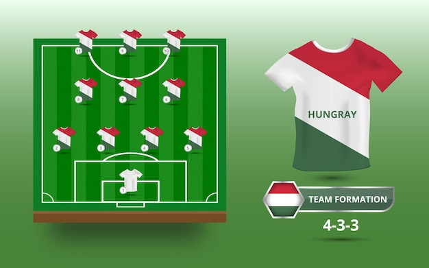 Campo de futebol com ilustração de formação de equipe