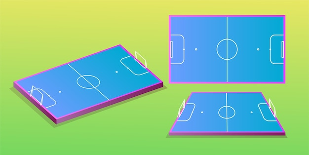 Campo de futebol em diferentes perspectivas