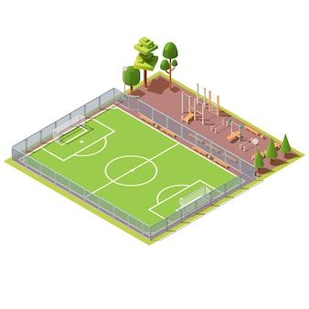 Campo de futebol isométrico com área de treino