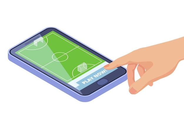 Campo de futebol isométrico no smartphone - conceito de vetor de aplicativo móvel de jogos de esporte