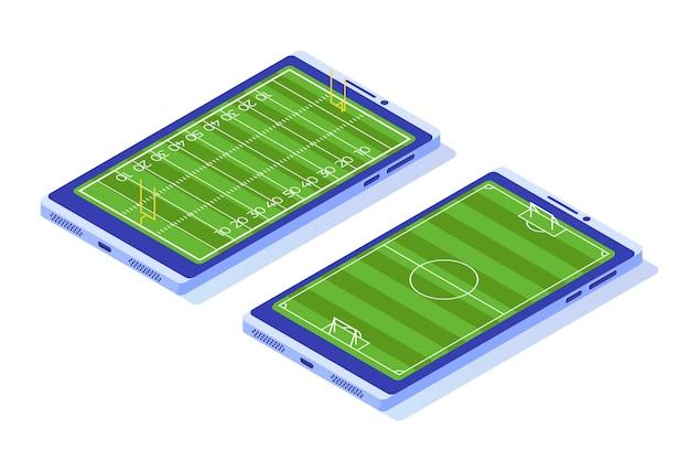 Campo de futebol isométrico no smartphone.