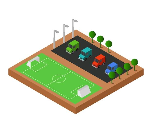 Campo de futebol isométrico