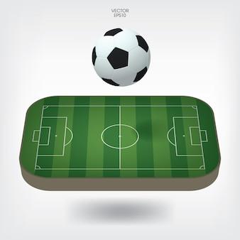 Campo de futebol ou fundo de campo de futebol com bola de futebol. quadra de grama verde para criação de jogo de futebol. ilustração vetorial